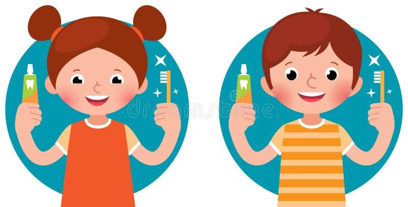 Barn rymmer tandkräm och tandborsten i deras händer royaltyfri illustrationer