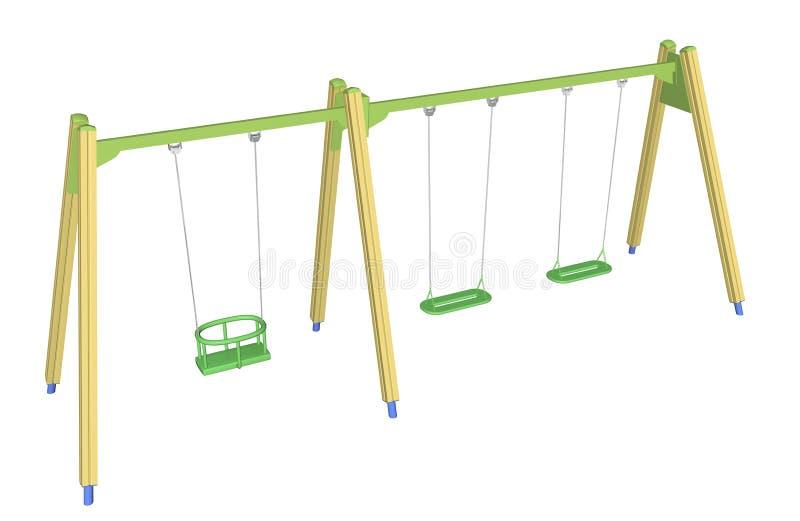 Barn-säker swing, illustration 3D stock illustrationer