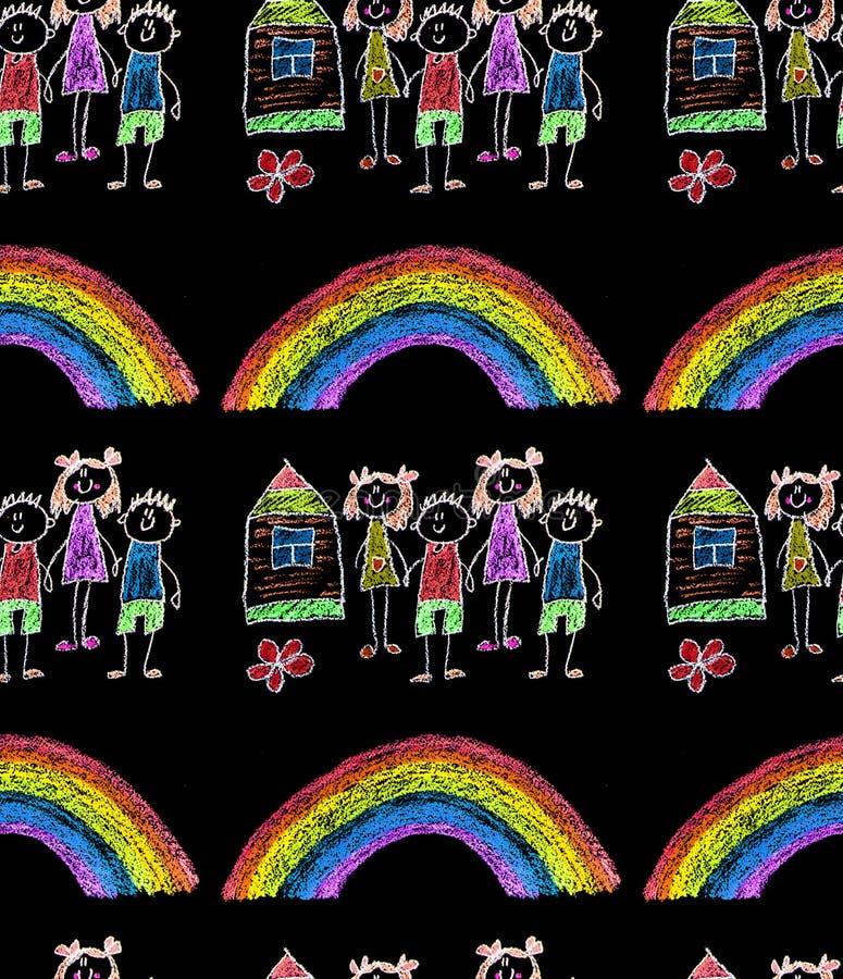 Barn  ?s-m?lning p? papper Ungar som drar bild Sm? barn, pojkar och flickor Skola dagisillustration Spela och v?x royaltyfria foton
