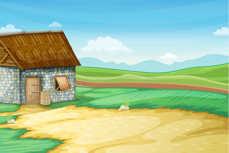 Download Barn scene stock vector. Image of meadow, building, illustration - 24653636