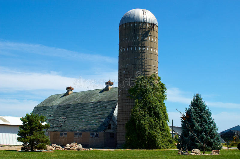 Barn and silo royalty free stock image
