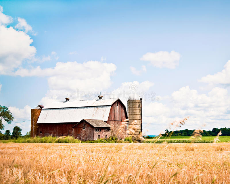 Barn and Silo in New York stock photo