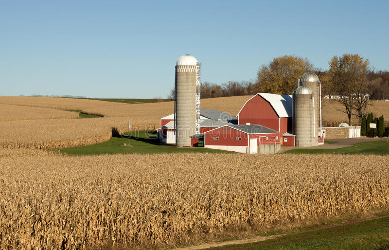Barn and silos stock photography