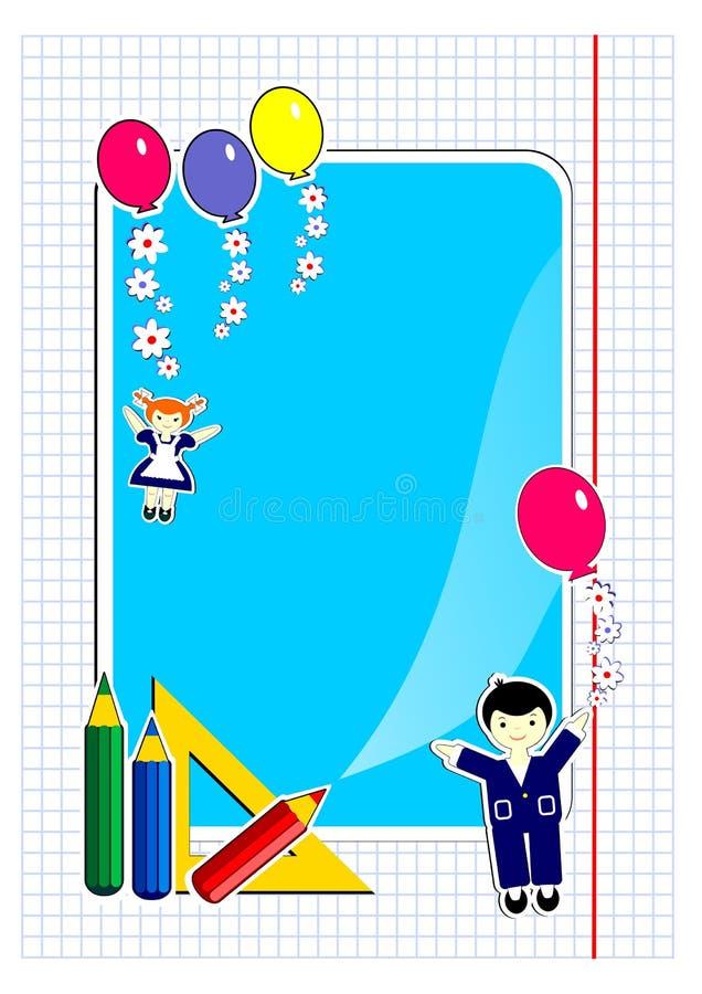 Barn skola, lyckliga barn, färgade blyertspennor, nätta roliga lyckliga barn, ballonger, blommor, royaltyfri illustrationer