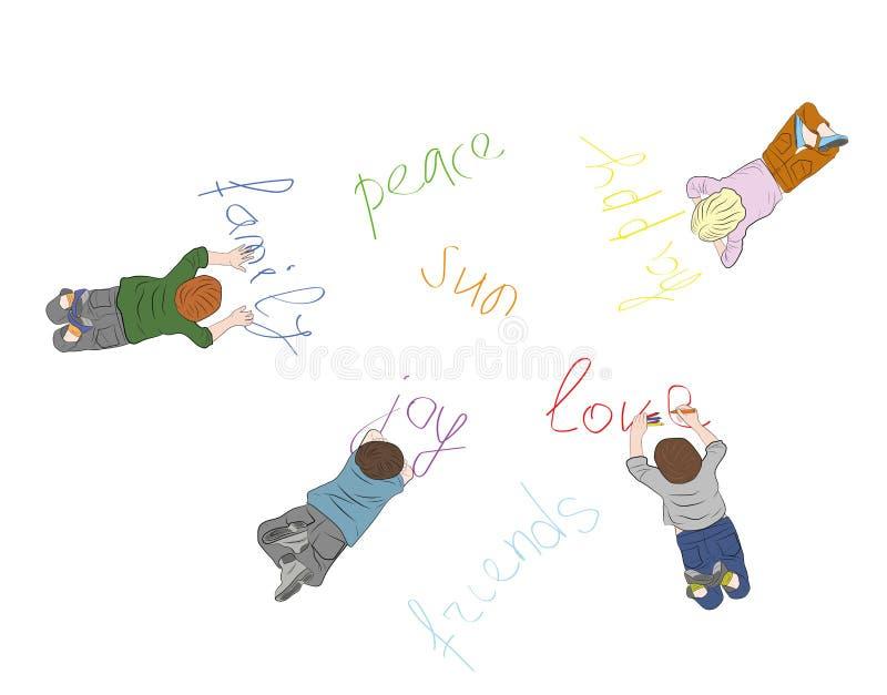 Barn skriver på jord orden: kamratskap fred, lycka, familj, glädje också vektor för coreldrawillustration royaltyfri illustrationer