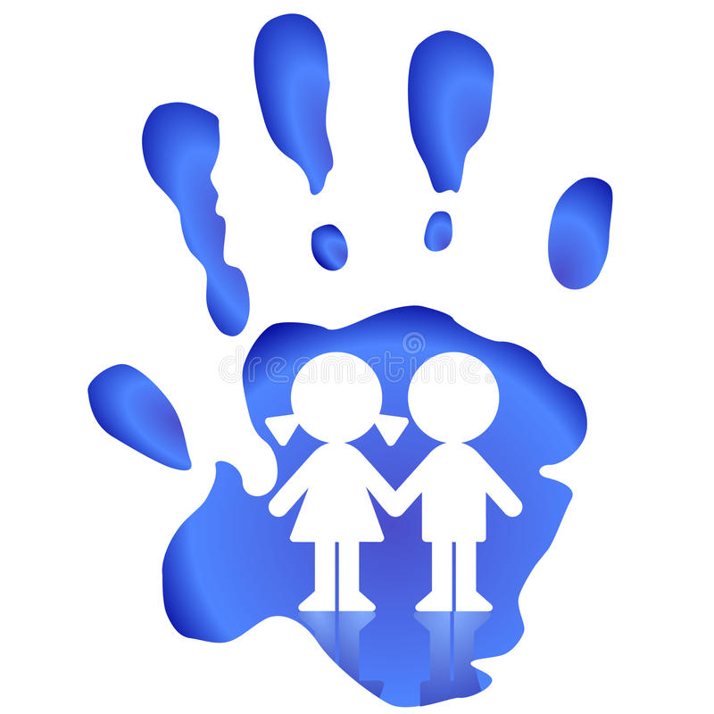barn skyddar för att hålla ögonen på royaltyfri illustrationer