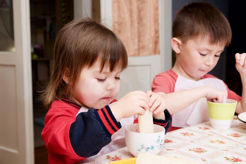 Barn som äter det hemmastadda sunda matbegreppet för lunch, ungar som tycker om bröd och yoghurten, emotionella framsidor för sib royaltyfri bild
