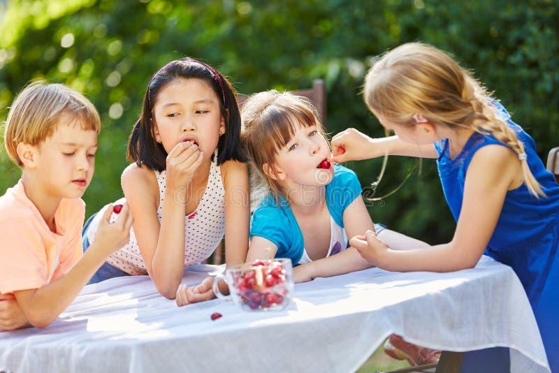Barn som äter körsbär i trädgård royaltyfria bilder