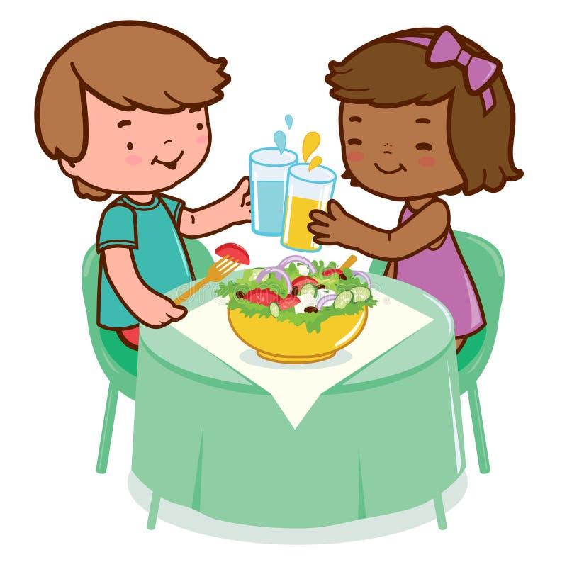 Barn som äter sund mat stock illustrationer