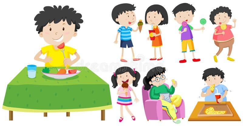 Barn som äter sund och sjuklig mat royaltyfri illustrationer