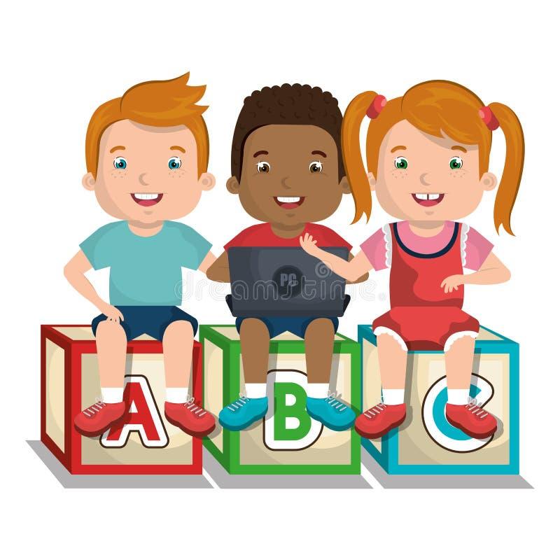Barn som använder datordesign stock illustrationer