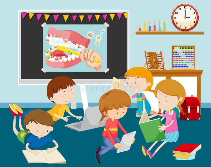 Barn som arbetar på datoren i klassrum stock illustrationer
