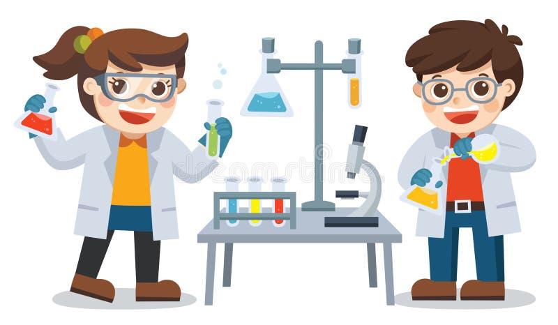 Barn som bär kemiska agens, medan ha en kemikurs stock illustrationer