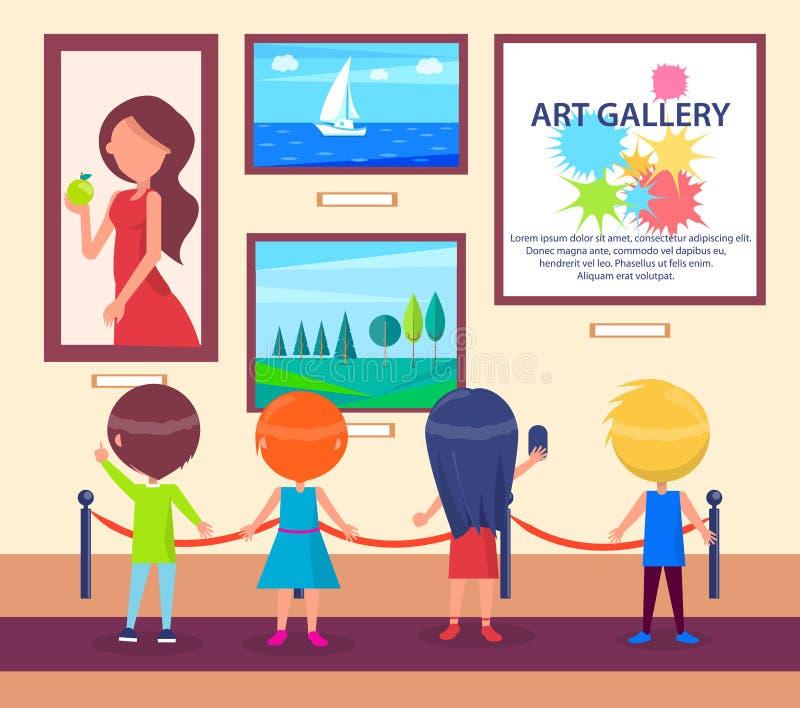 Barn som besöker Art Gallery och blick på bilder royaltyfri illustrationer