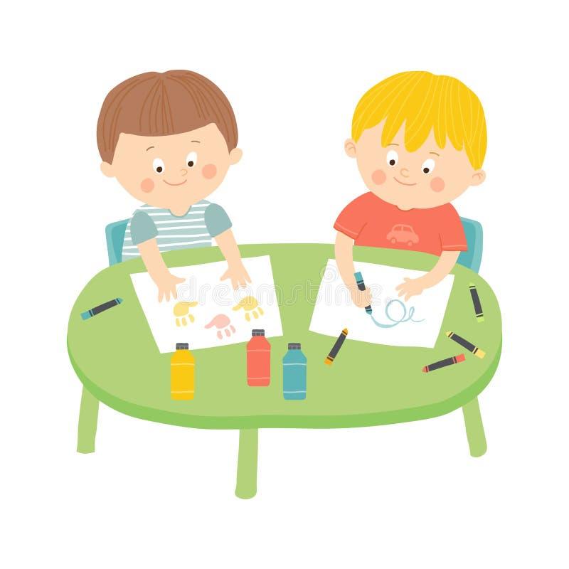 Barn som drar i konstgrupp Illustration för eps 10 för tecknad filmvektor som hand dragen isoleras på vit bakgrund i plan stil royaltyfri illustrationer