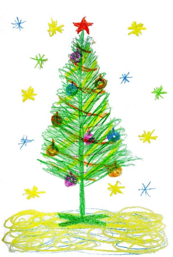 Barn som drar julgranen royaltyfri illustrationer
