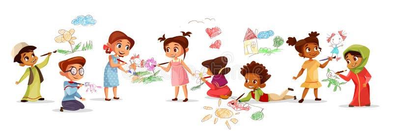 Barn som drar med blyertspennavektorillustrationen av olika nationalitettecknad filmpojkar och flickaungar som målar med royaltyfri illustrationer