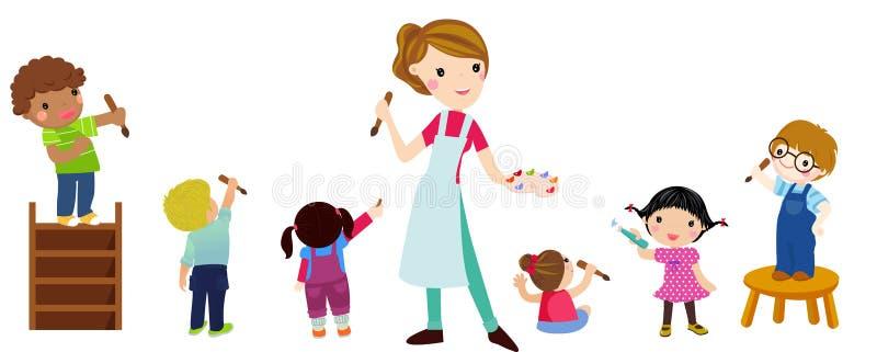 Barn som drar med läraren stock illustrationer
