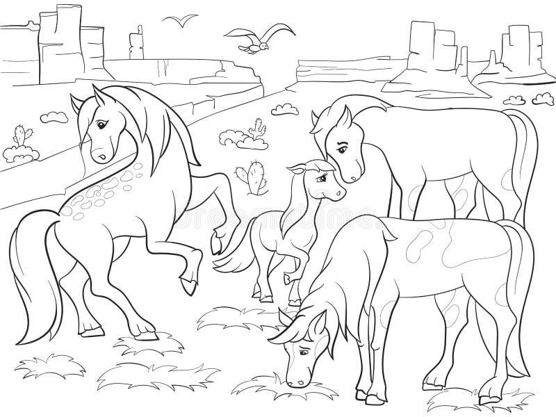 Barn som färgar tecknad filmhästar som betar på ängvektor royaltyfri illustrationer
