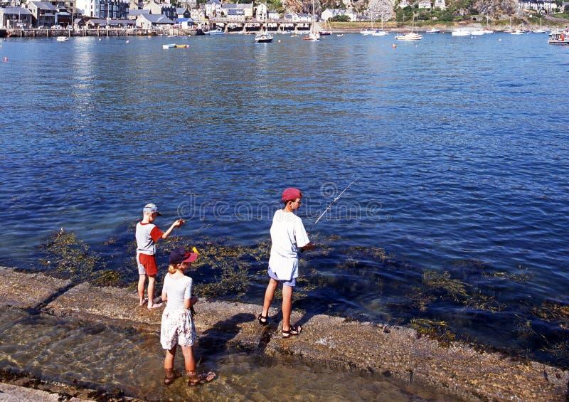 Barn som fiskar på Barmouth arkivbilder