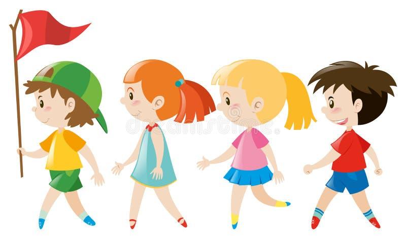 Barn som går i linje stock illustrationer