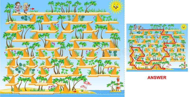 Barn som går till labyrintleken (för hård) strand - för ungar royaltyfri illustrationer