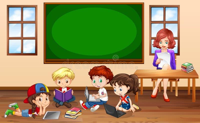 Barn som gör groupwork i klassrum stock illustrationer