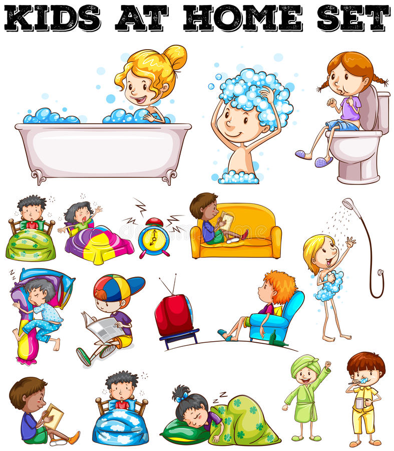 Barn som gör olika aktiviteter royaltyfri illustrationer