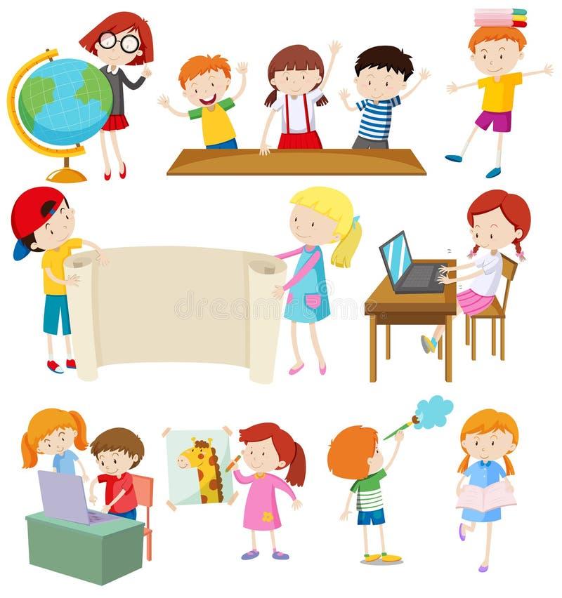 Barn som gör olika aktiviteter vektor illustrationer