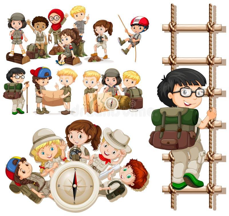 Barn som gör olika aktiviteter för att fotvandra stock illustrationer