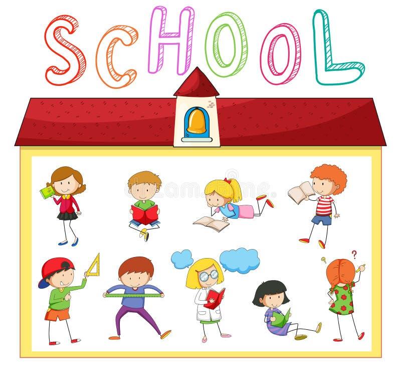 Barn som gör olika aktiviteter på skolan royaltyfri illustrationer