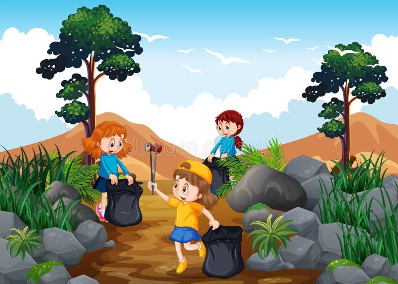 Barn som gör ren en Trekking slinga royaltyfri illustrationer