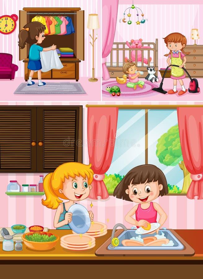 Barn som gör ren huset vektor illustrationer
