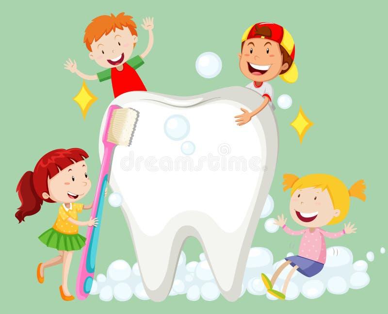 Barn som gör ren tanden med tandborsten royaltyfri illustrationer