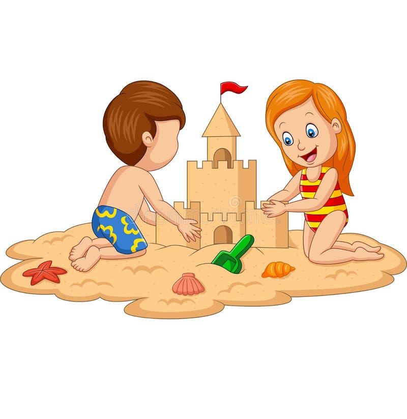 Barn som g?r sandslotten p? den tropiska stranden stock illustrationer