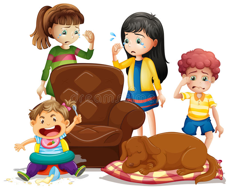 Barn som gråter i vardagsrum stock illustrationer