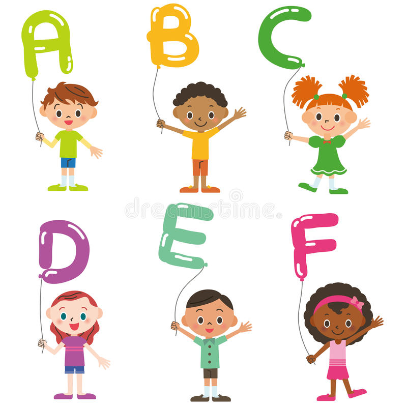 Barn som har ballongen av, alfabet vektor illustrationer