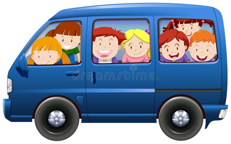 Barn som har carpoolen i blå skåpbil royaltyfri illustrationer