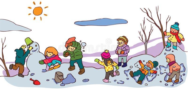 Barn som har en bra tid i vinterlandskap (v vektor illustrationer