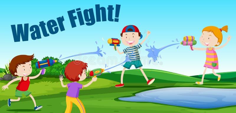 Barn som har en vattenkamp vektor illustrationer