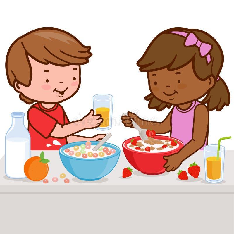 Barn som har frukosten royaltyfri illustrationer