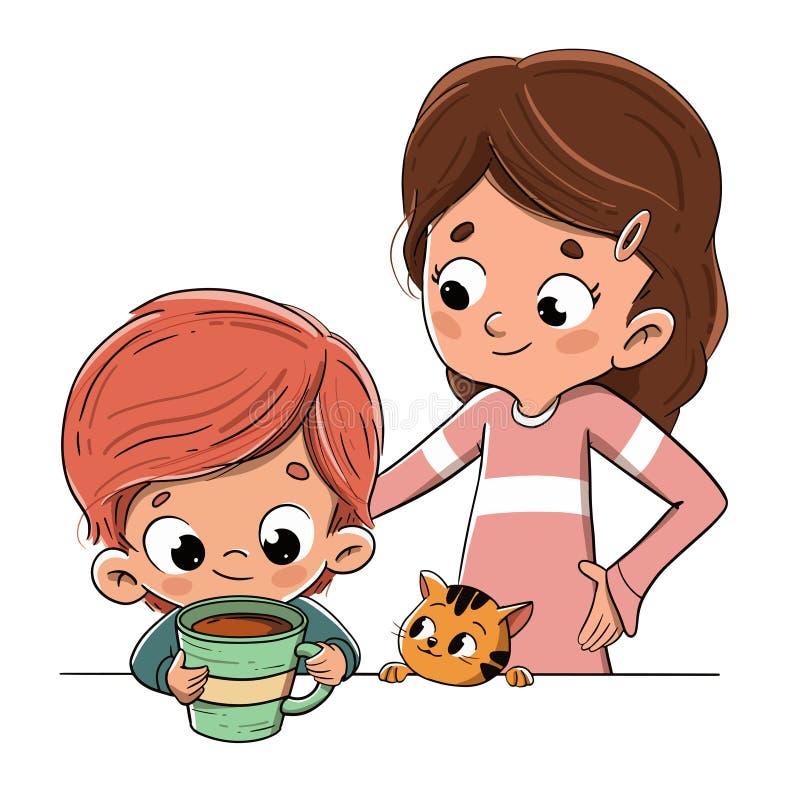 Barn som har frukosten eller har ett mellanmål med familjen stock illustrationer