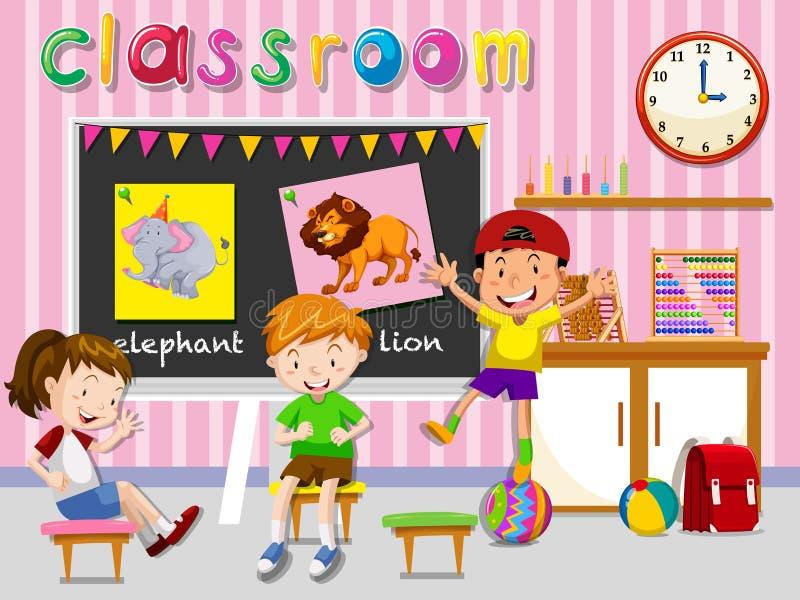 Barn som har gyckel i klassrum royaltyfri illustrationer
