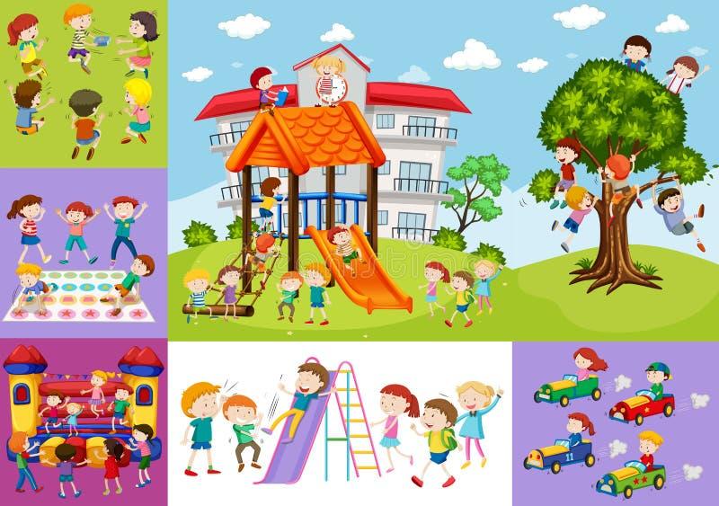 Barn som har gyckel på skolan och lekplatsen vektor illustrationer