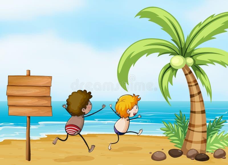 Barn som har gyckel på stranden royaltyfri illustrationer