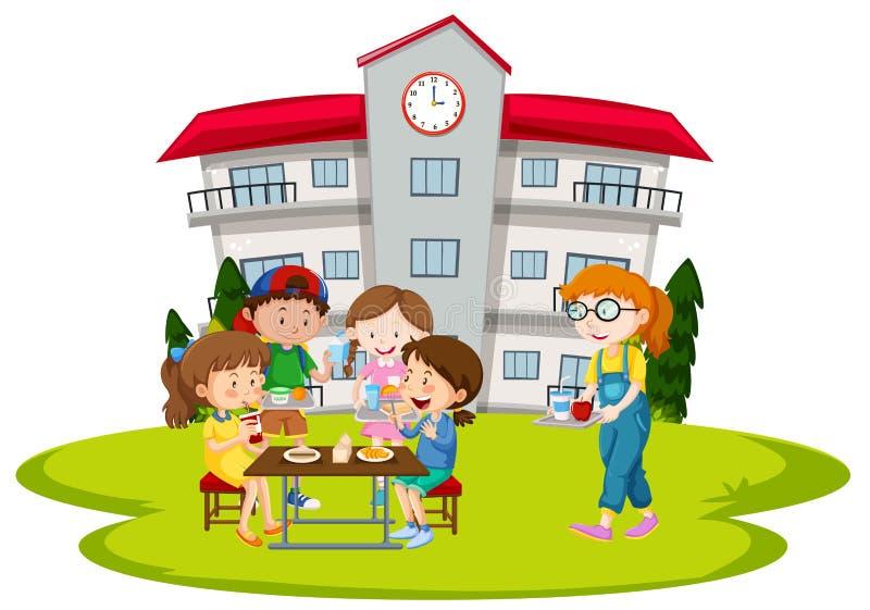 Barn som har lunch på skola royaltyfri illustrationer