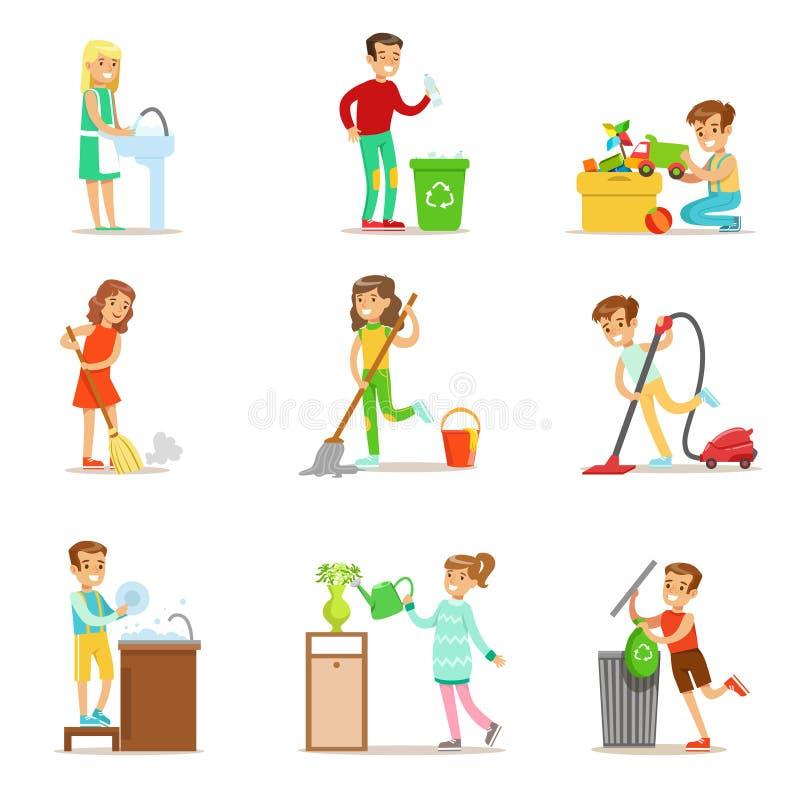 Barn som hjälper med hem- rengöring, tvättar golvet, ut kastar avskräde och bevattnar växter vektor illustrationer