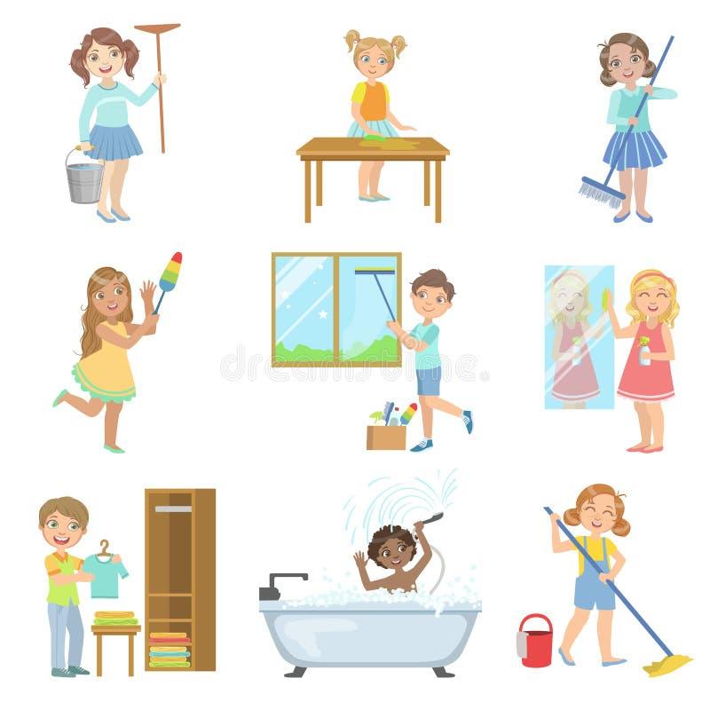 Barn som hjälper med vårlokalvård royaltyfri illustrationer