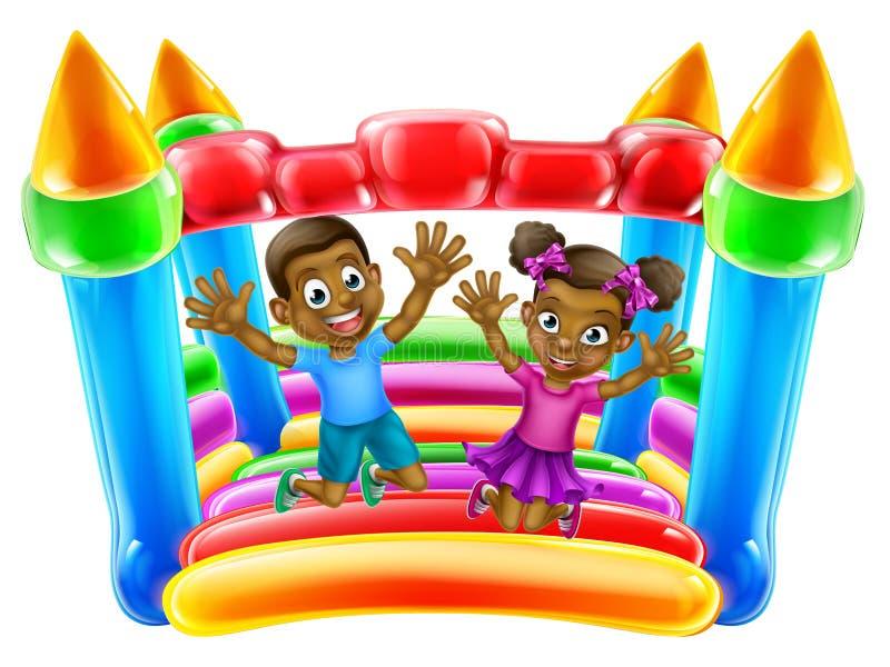 Barn som hoppar på hurtfrisk slott stock illustrationer