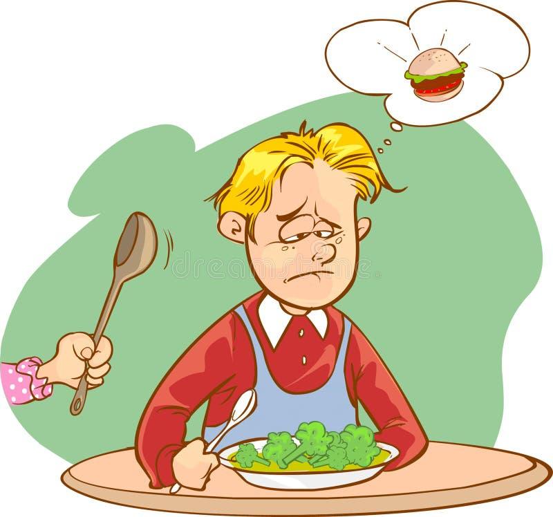 Barn som inte gillar grönsaker royaltyfri illustrationer